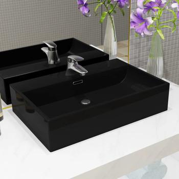 vidaXL Umivaonik s otvorom za slavinu keramički crni 76 x 42,5 x 14,5  cm