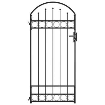 vidaXL Vrata za ogradu s lučnim vrhom čelična 89 x 200 cm crna