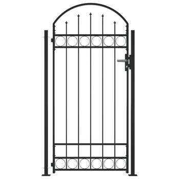 vidaXL Vrata za ogradu s lučnim vrhom i 2 stupa 105 x 204 cm crna