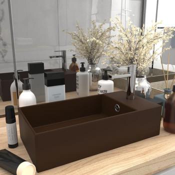 vidaXL Kupaonski umivaonik keramički tamnosmeđi