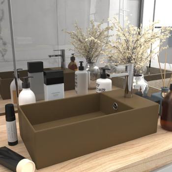 vidaXL Kupaonski umivaonik keramički mat krem