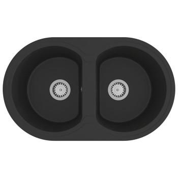 vidaXL Kuhinjski sudoper s dvije kadice ovalni crni granitni