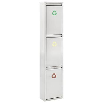 vidaXL Reciklažna kanta za smeće srebrna od nehrđajućeg čelika 45 L