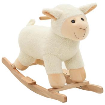 vidaXL Plišana ovčica za ljuljanje s naslonom 78 x 34 x 58 cm  bijela