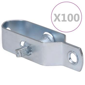 vidaXL Zatezači za žicu za ogradu 100 kom 100 mm čelični srebrni