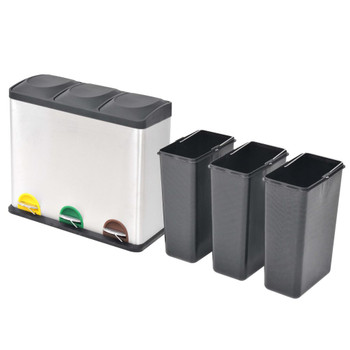 vidaXL Kanta za Recikliranje Otpada s Pedalama od Nehrđajućeg Čelika  3x18 L