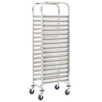 vidaXL Kuhinjska kolica za 16 pladnjeva 38x55x163 cm nehrđajući čelik