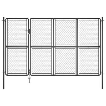 vidaXL Vrtna vrata čelična 200 x 350 cm antracit