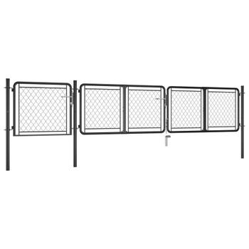 vidaXL Vrtna vrata čelična 75 x 395 cm antracit