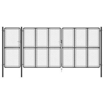 vidaXL Vrtna vrata čelična 200 x 495 cm antracit