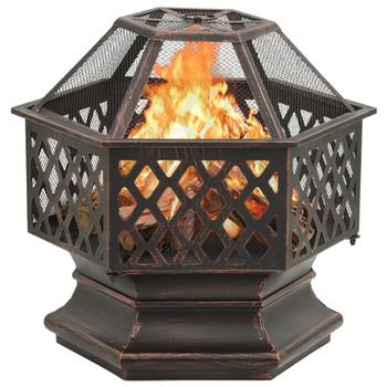 vidaXL Rustična posuda za vatru sa žaračem 62 x 54 x 56 cm XXL čelična