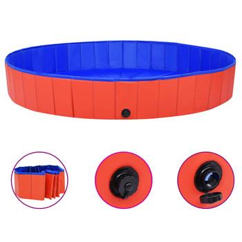 vidaXL Sklopivi bazen za pse crveni 200 x 30 cm PVC