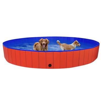 vidaXL Sklopivi bazen za pse crveni 300 x 40 cm PVC