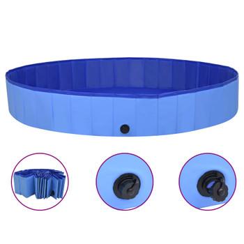 vidaXL Sklopivi bazen za pse plavi 200 x 30 cm PVC