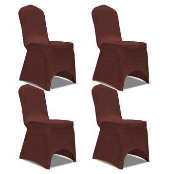 vidaXL Rastezljive navlake za stolice 4 kom Smeđa boja