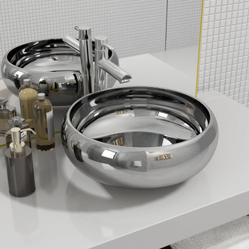 vidaXL Umivaonik 40 x 15 cm keramički srebrni