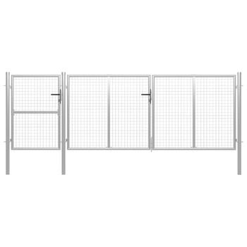 vidaXL Vrtna vrata čelična 400 x 125 cm srebrna