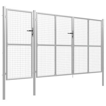 vidaXL Vrtna vrata čelična 400 x 150 cm srebrna