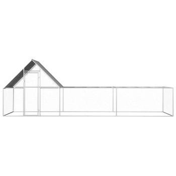 vidaXL Kokošinjac od pocinčanog čelika 6 x 2 x 2 m