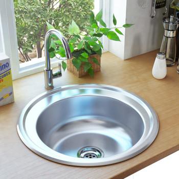 vidaXL Kuhinjski sudoper s cjedilom i sifonom od nehrđajućeg čelika