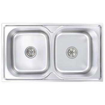vidaXL Dvostruki sudoper s cjedilom i sifonom od nehrđajućeg čelika