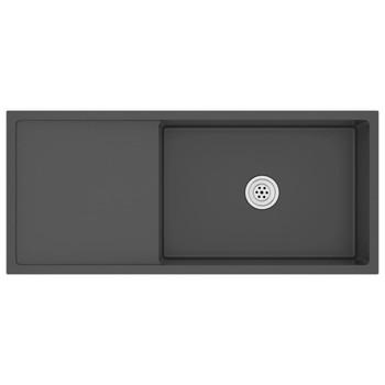 vidaXL Ručno rađeni kuhinjski sudoper s cjedilom crni nehrđajući čelik