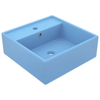vidaXL Luksuzni četvrtasti umivaonik mat tamnoplavi 41x41 cm keramički