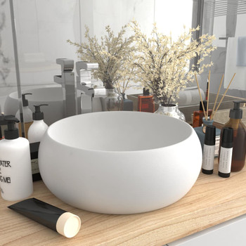 vidaXL Luksuzni okrugli umivaonik mat bijeli 40 x 15 cm keramički