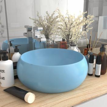 vidaXL Luksuzni okrugli umivaonik mat svjetloplavi 40x15 cm keramički