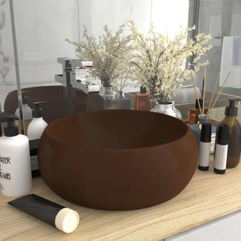vidaXL Luksuzni okrugli umivaonik mat tamnosmeđi 40 x 15 cm keramički
