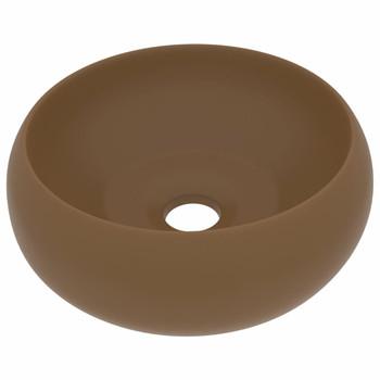 vidaXL Luksuzni okrugli umivaonik mat krem 40 x 15 cm keramički