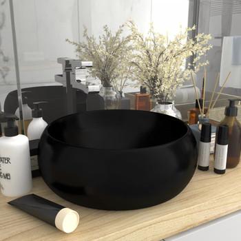 vidaXL Luksuzni okrugli umivaonik mat crni 40 x 15 cm keramički