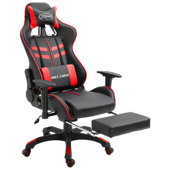 vidaXL Igraća stolica od umjetne kože s osloncem za noge crvena