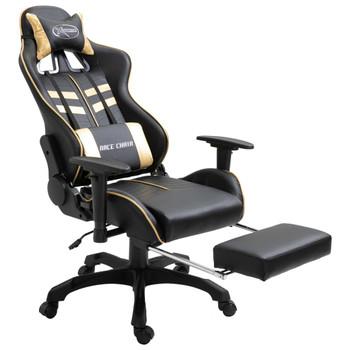 vidaXL Igraća stolica od umjetne kože s osloncem za noge zlatna