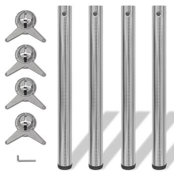 4 Podesive Noge za Stol Brušeni nikal 710 mm