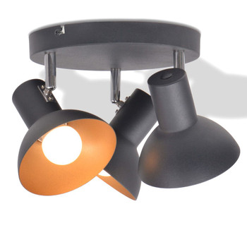 vidaXL Stropna svjetiljka za 3 žarulje E27 crno-zlatna