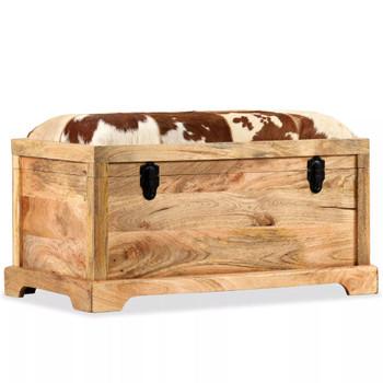 vidaXL Klupa za pohranu od prave kože i masivnog drva manga 80 x 44 x 44 cm