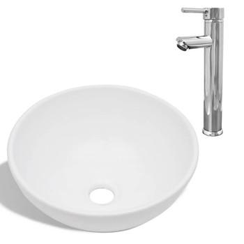 vidaXL Umivaonik s miješalicom keramički okrugli bijeli