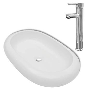 vidaXL Umivaonik s miješalicom keramički ovalni bijeli