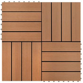 vidaXL Pločice za trijem 22 kom 30 x 30 cm 2 m² WPC smeđe