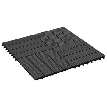 vidaXL Pločice za trijem 22 kom 30 x 30 cm 2 m² WPC crne