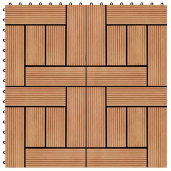 vidaXL Pločice za trijem 22 kom 30 x 30 cm 2 m² WPC boja tikovine