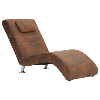 vidaXL Ležaj od umjetne brušene kože s jastukom smeđi