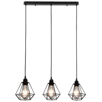 vidaXL Stropna svjetiljka u obliku dijamanta crna 3 x žarulja E27