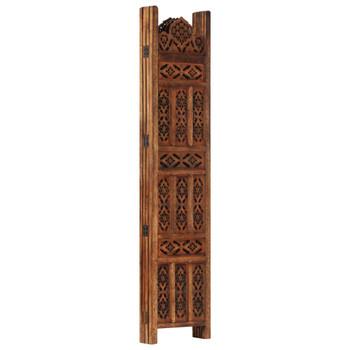 vidaXL Sobna pregrada s 4 panela smeđa 160 x 165 cm masivno drvo manga