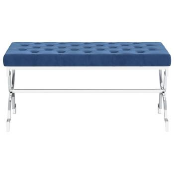 vidaXL Klupa od plavog baršuna i nehrđajućeg čelika 99 cm