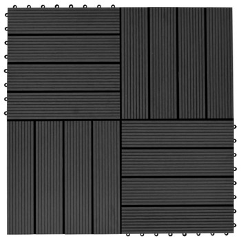 vidaXL Pločice za trijem 11 kom WPC 30 x 30 cm 1 m² crne