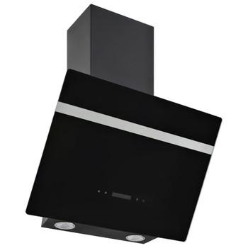 vidaXL Zidna napa 60 cm od nehrđajućeg čelika i kaljenog stakla crna
