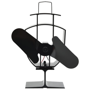 vidaXL Ventilator za peć na toplinski pogon s 2 lopatice crni
