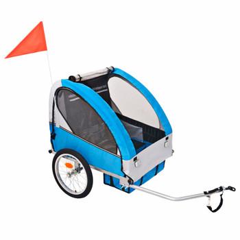 vidaXL Dječja Prikolica za Bicikl Sivo Plava 30 kg